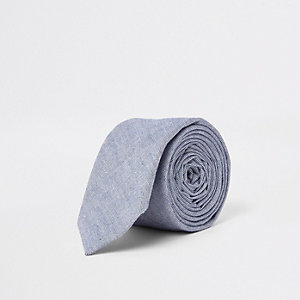 Blue oxford textured tie