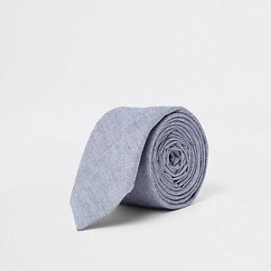 Cravate oxford texturée bleue