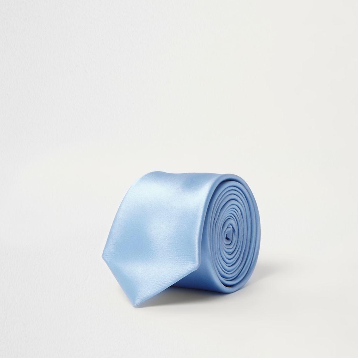 Light blue satin pin tie