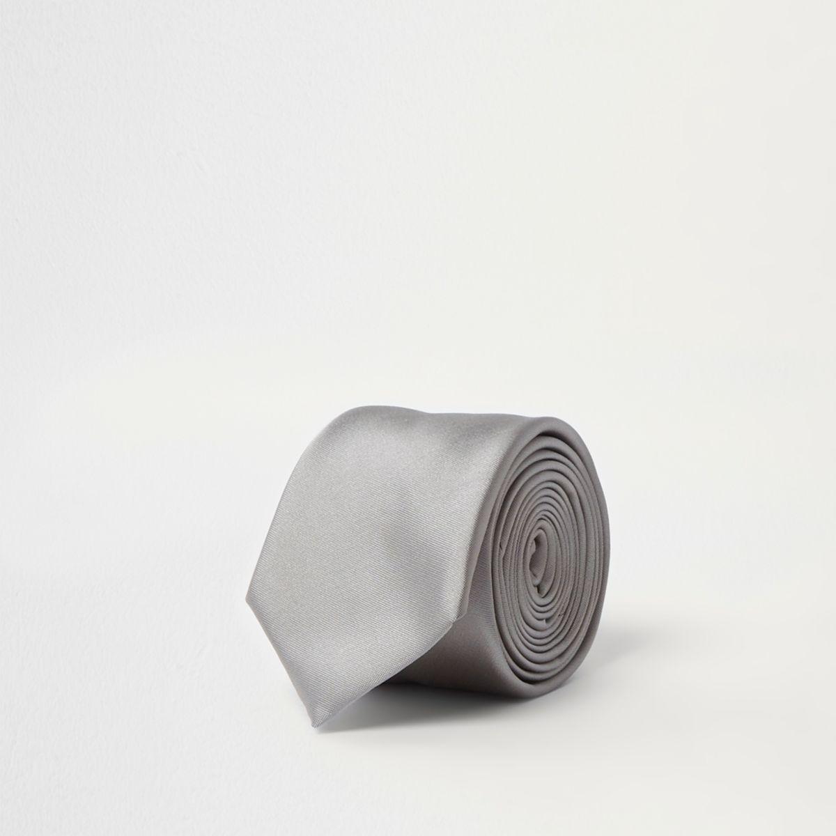 Silver satin pin tie
