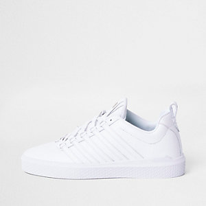 K-Swiss white premium leather sneakers
