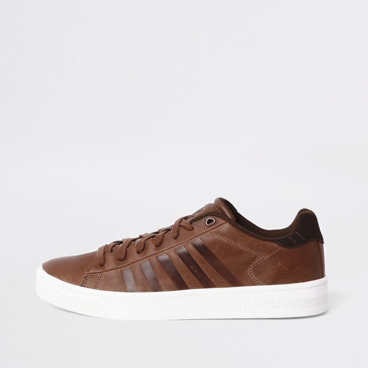 K-Swiss brown low top cupsole sneakers