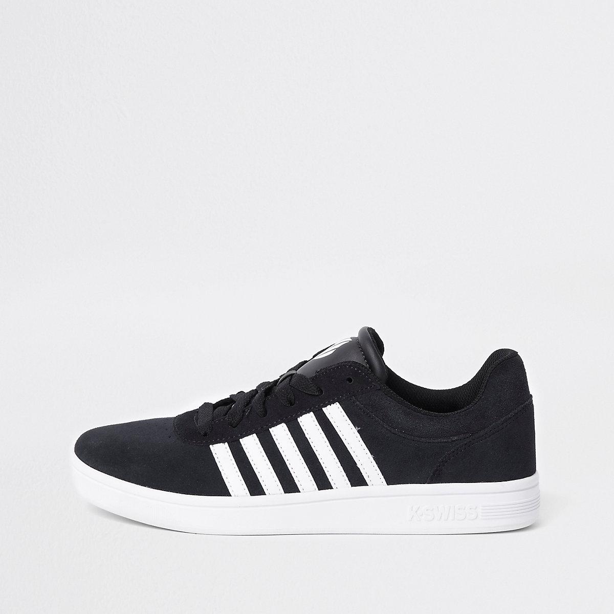 K-Swiss black low top court runner sneakers