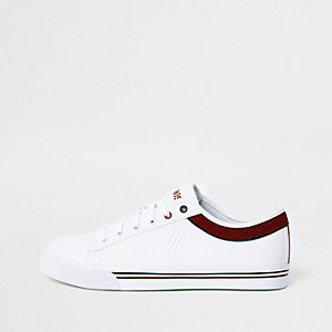 K-Swiss white low top canvas sneakers
