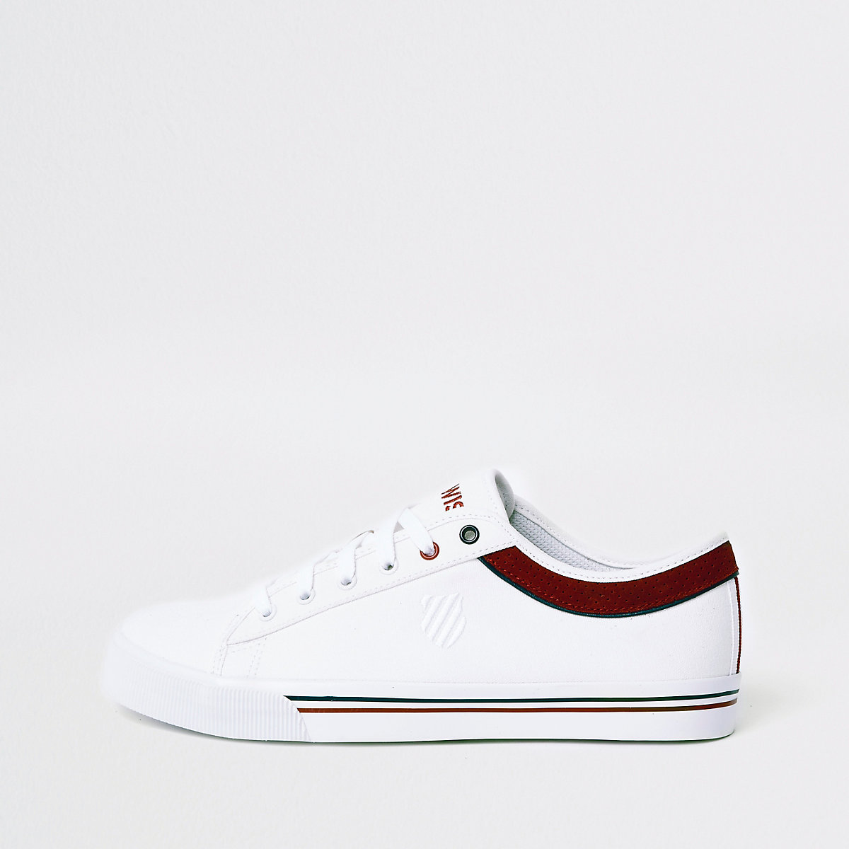 K-Swiss white low top canvas trainers