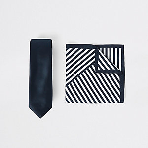 Navy satin tie and stripe handkerchief set