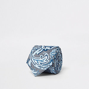 Grey and blue paisley print tie