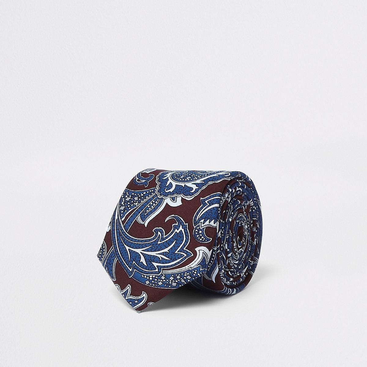 Krawatte mit Paisley-Print in Bordeaux und Marineblau