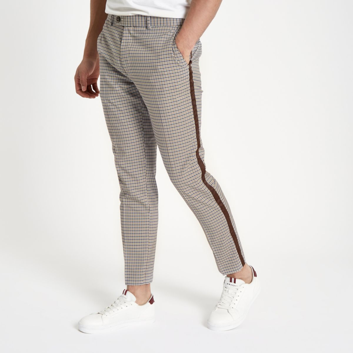 Ecru check tape side skinny fit trousers