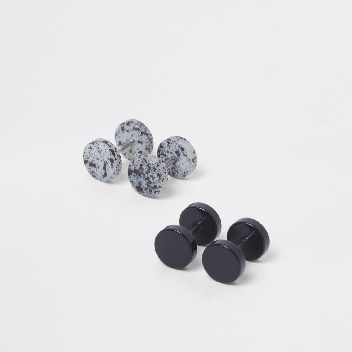 Set met zwarte marmeren oordopjes