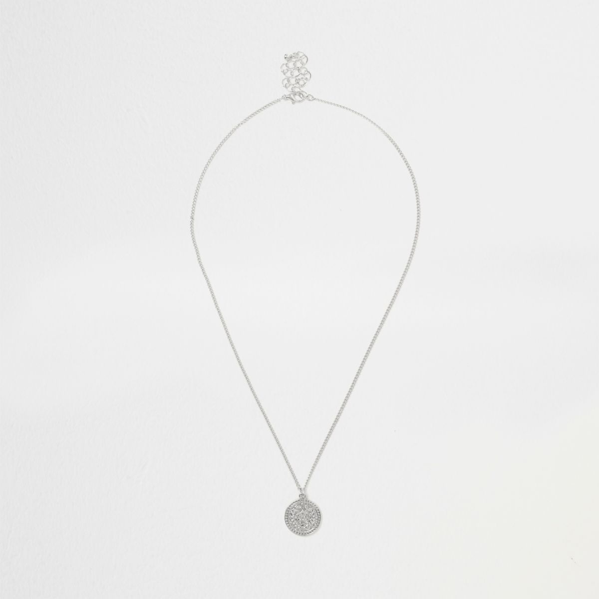 Silver tone coin necklace