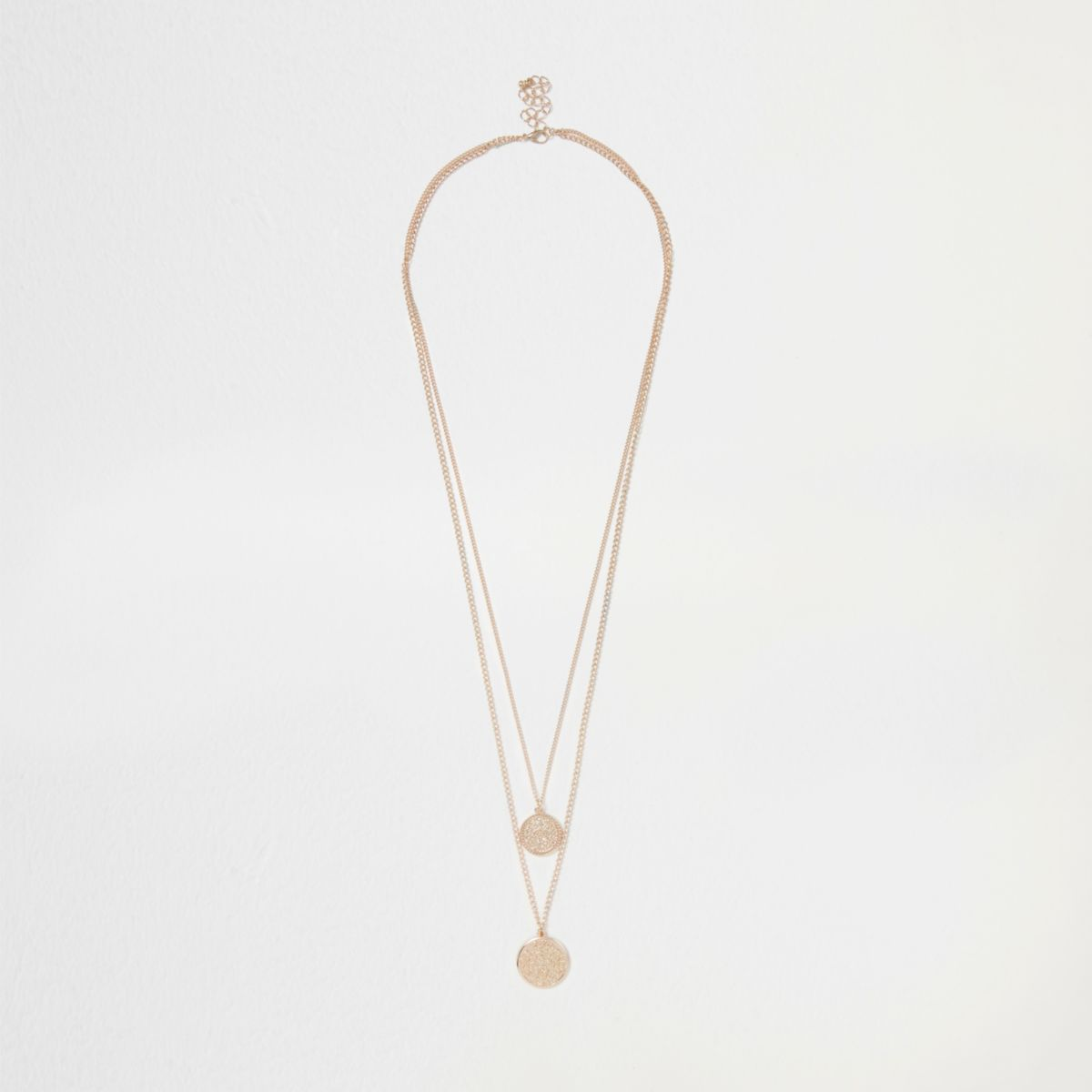 Gold tone multilayer coin necklace