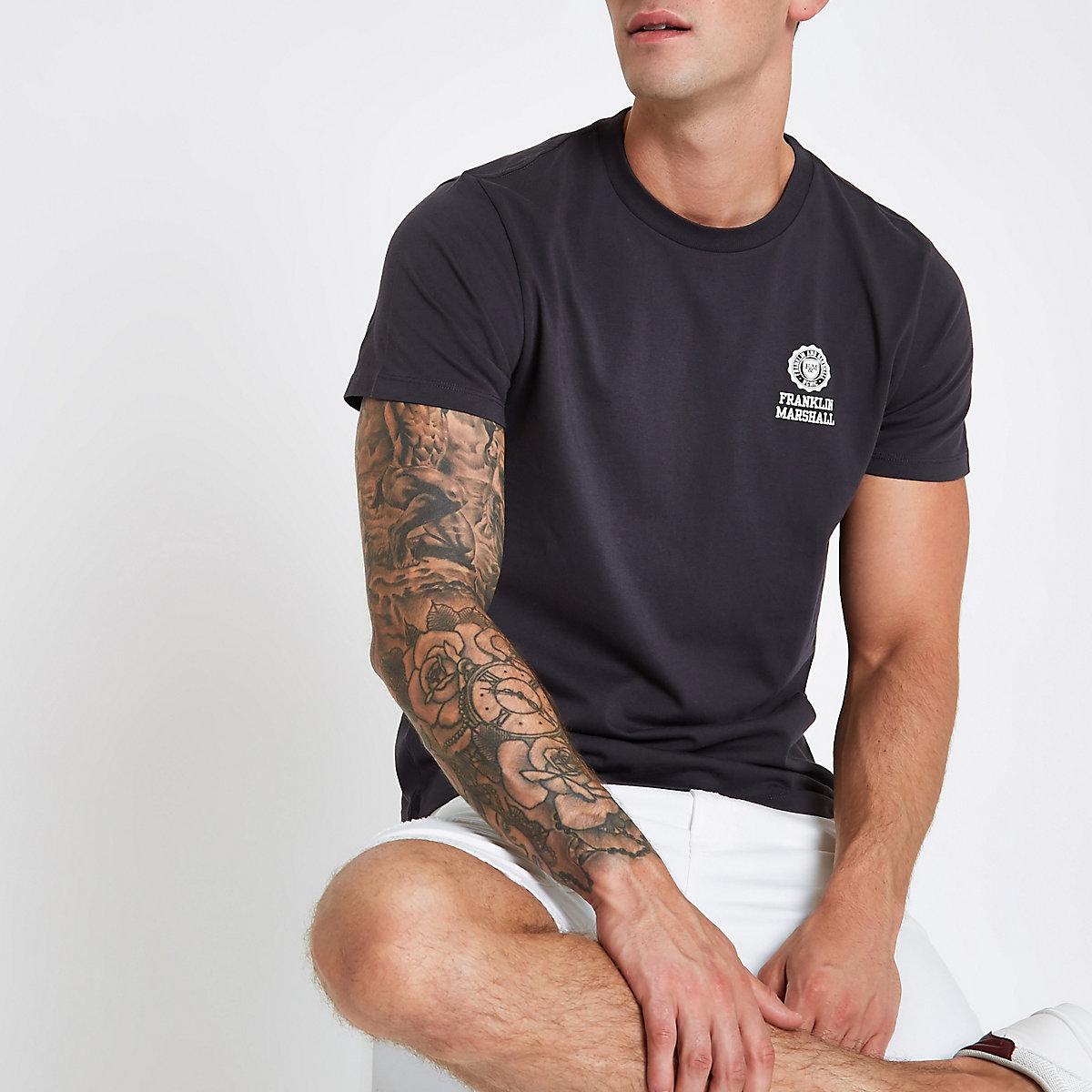 Franklin & Marshall – Schwarzes T-Shirt mit Rundhalsausschnitt