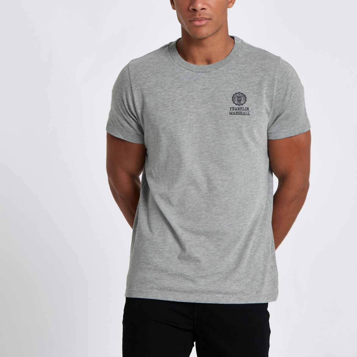 Grey Franklin & Marshall crew neck T-shirt