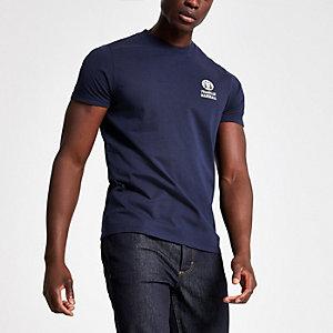 Franklin & Marshall – Blaues T-Shirt mit Rundhalsausschnitt
