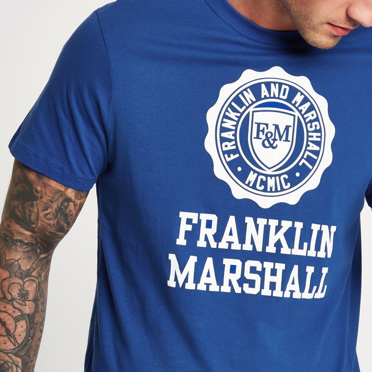 Blue Franklin and Marshall logo T-shirt