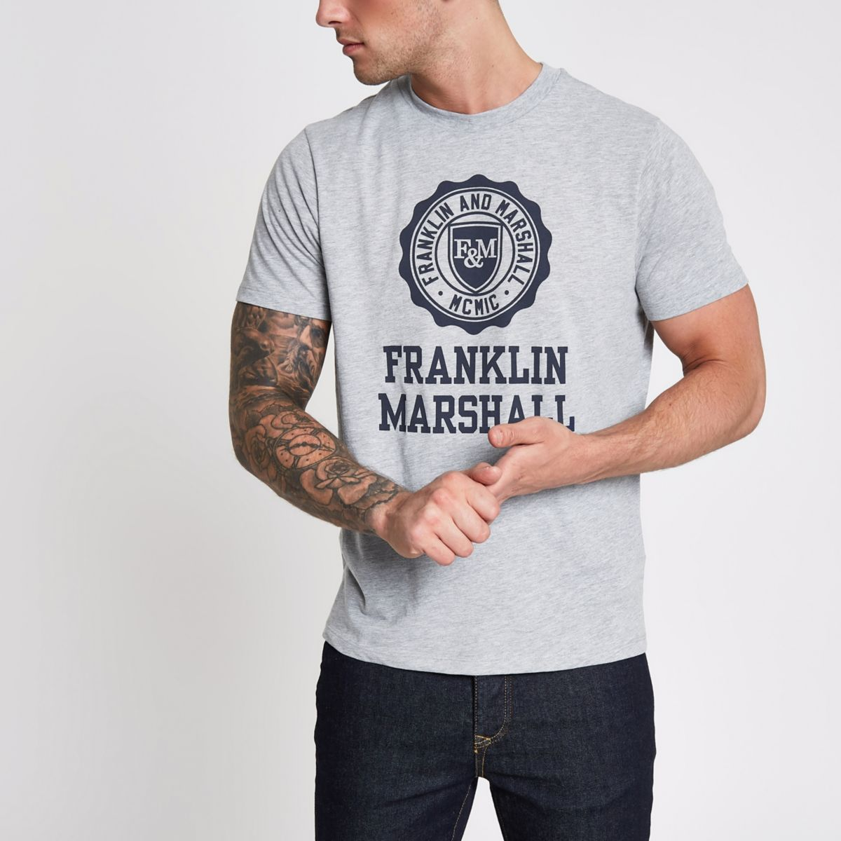 Franklin & Marshall grey logo T-shirt