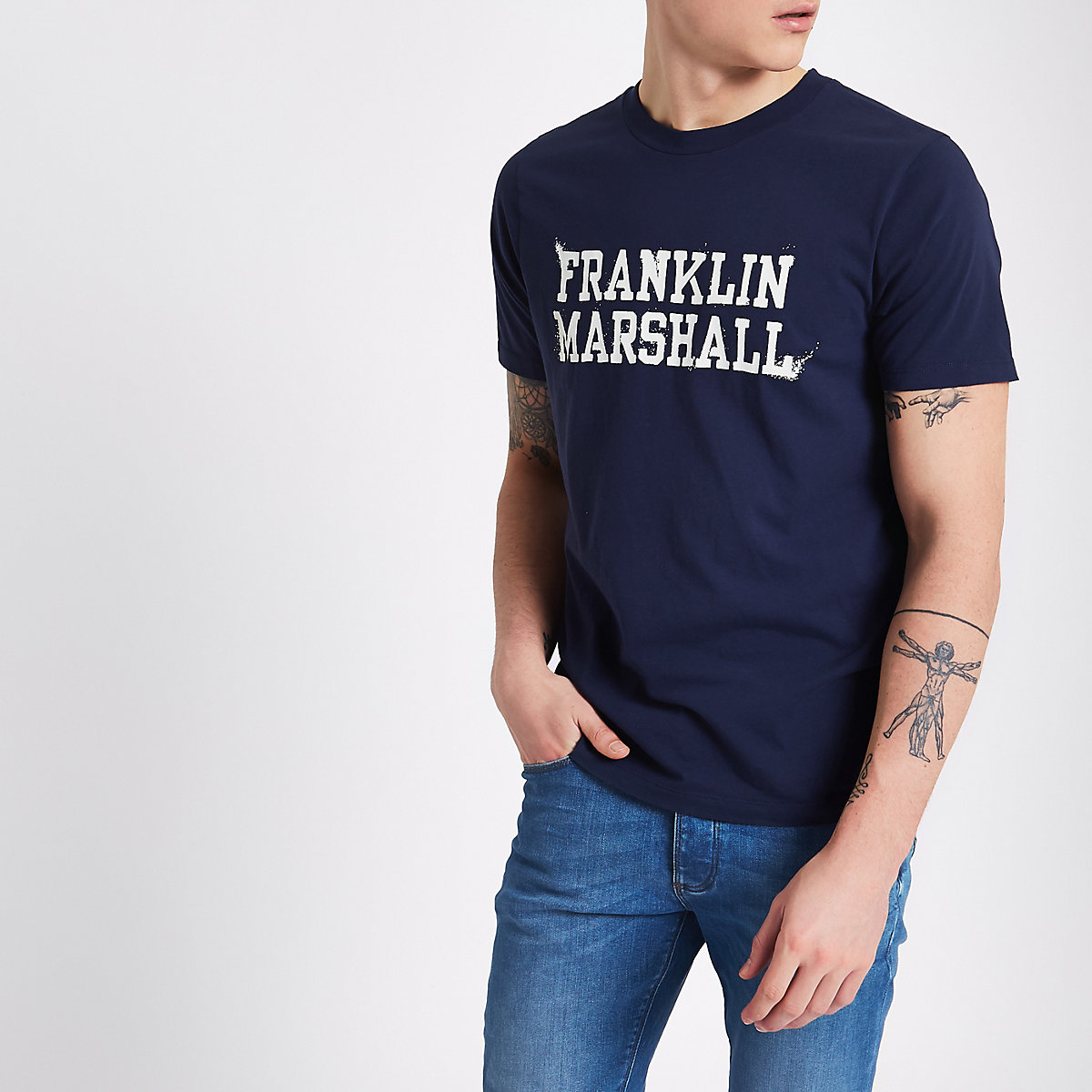 Franklin & Marshall navy print T-shirt