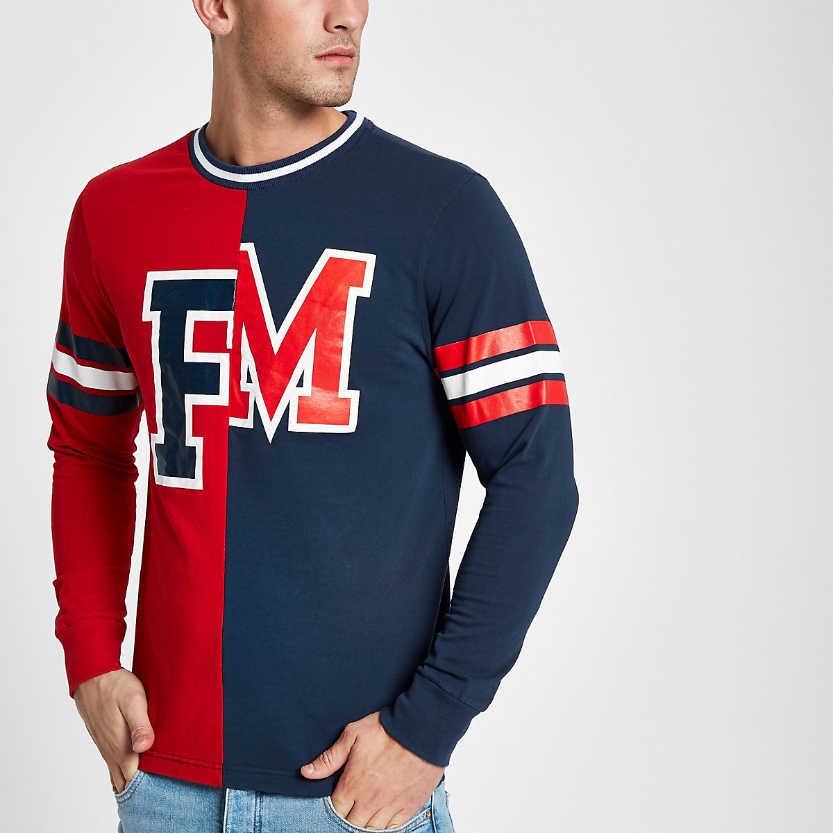Franklin & Marshall red baseball T-shirt