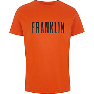 Franklin & Marshall orange 'Franklin' T-shirt