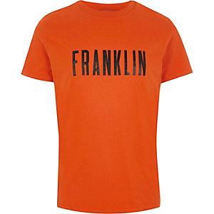 Franklin & Marshall - Oranje T-shirt met 'Franklin'-print