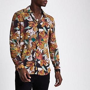 Chemise slim à fleurs jaune à manches longues