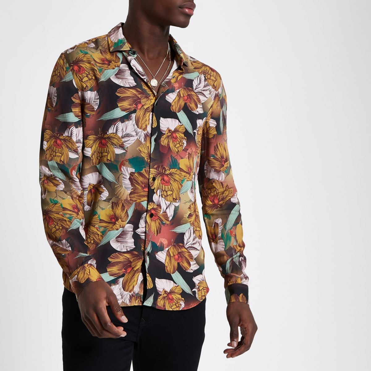 Yellow floral slim fit long sleeve shirt