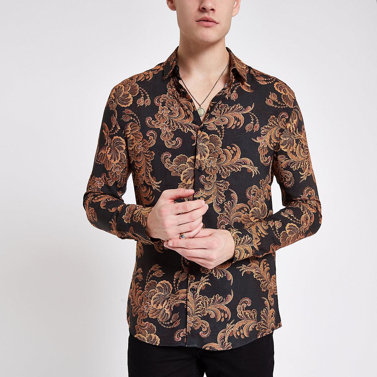 Slim Fit Hemd mit Barockprint in Schwarz und Gold