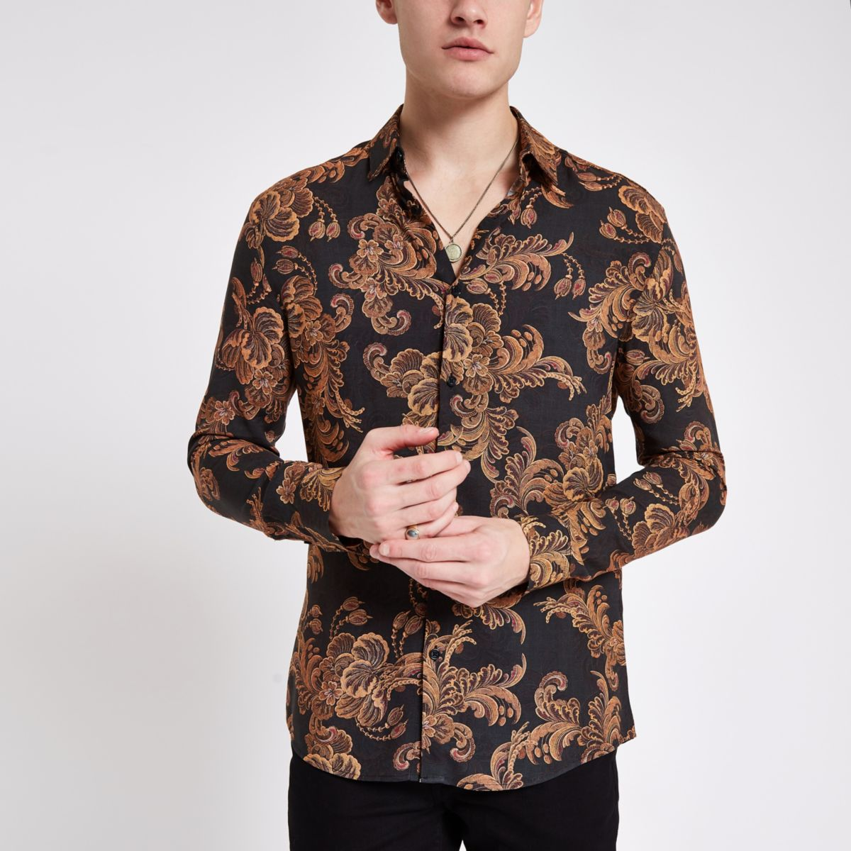 Black and gold baroque print slim fit shirt
