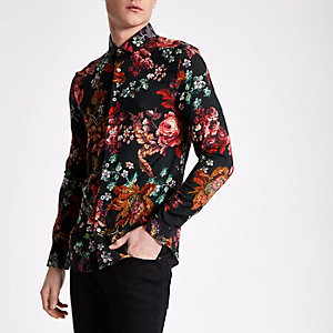 Black floral print long sleeve slim fit shirt