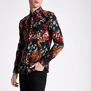 Chemise slim manches courtes à fleurs noire