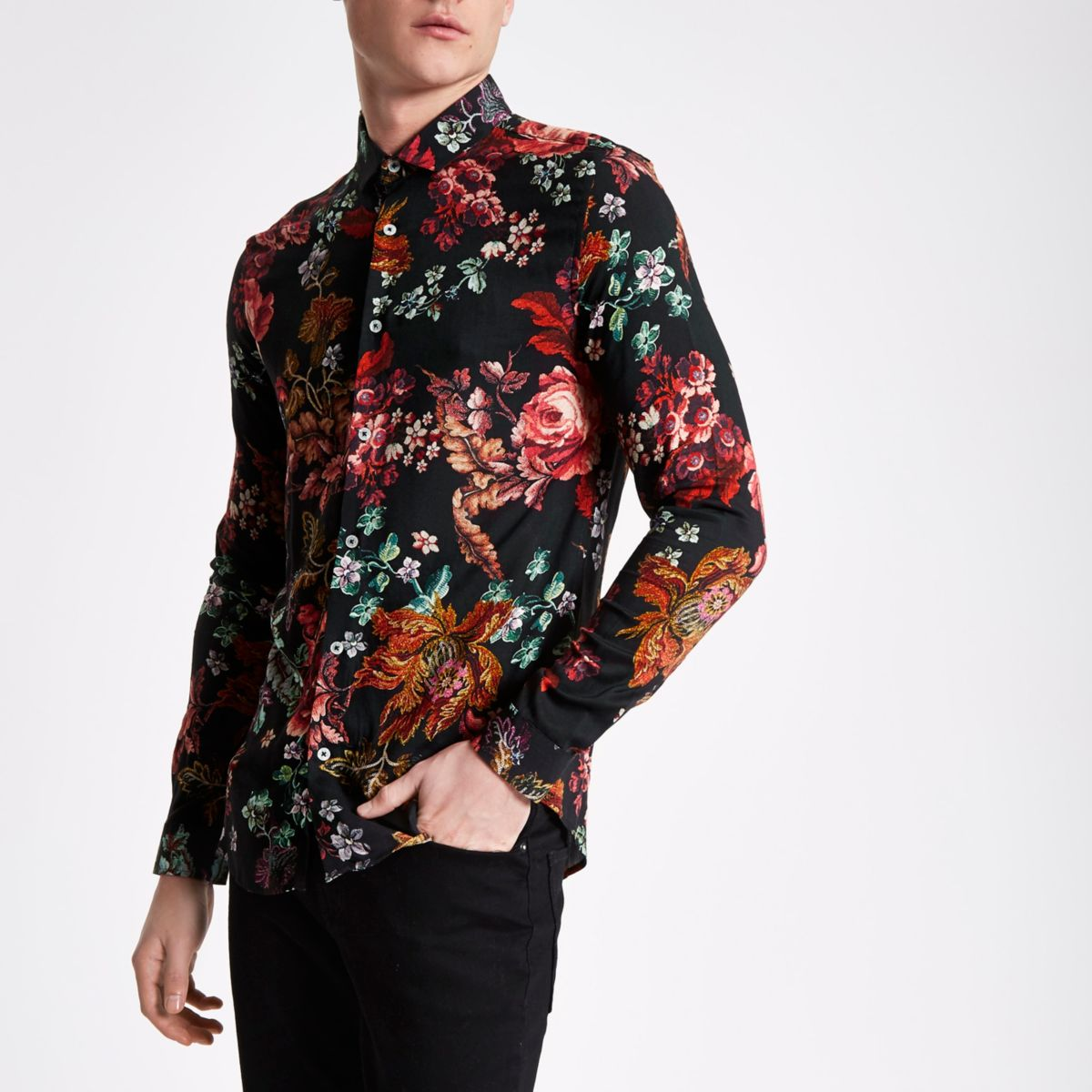 Black floral print long sleeve slim fit shirt