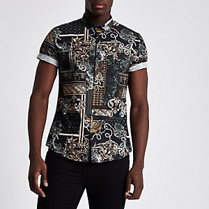 Black baroque slim fit short sleeve shirt