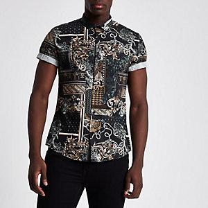 Chemise slim baroque noire à manches courtes