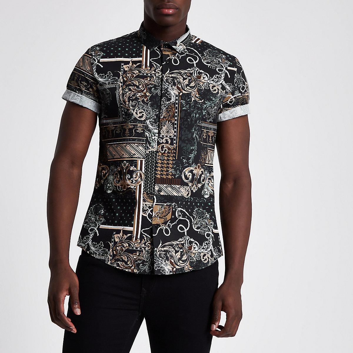 Schwarzes Slim Fit Kurzarmhemd mit Barockmuster