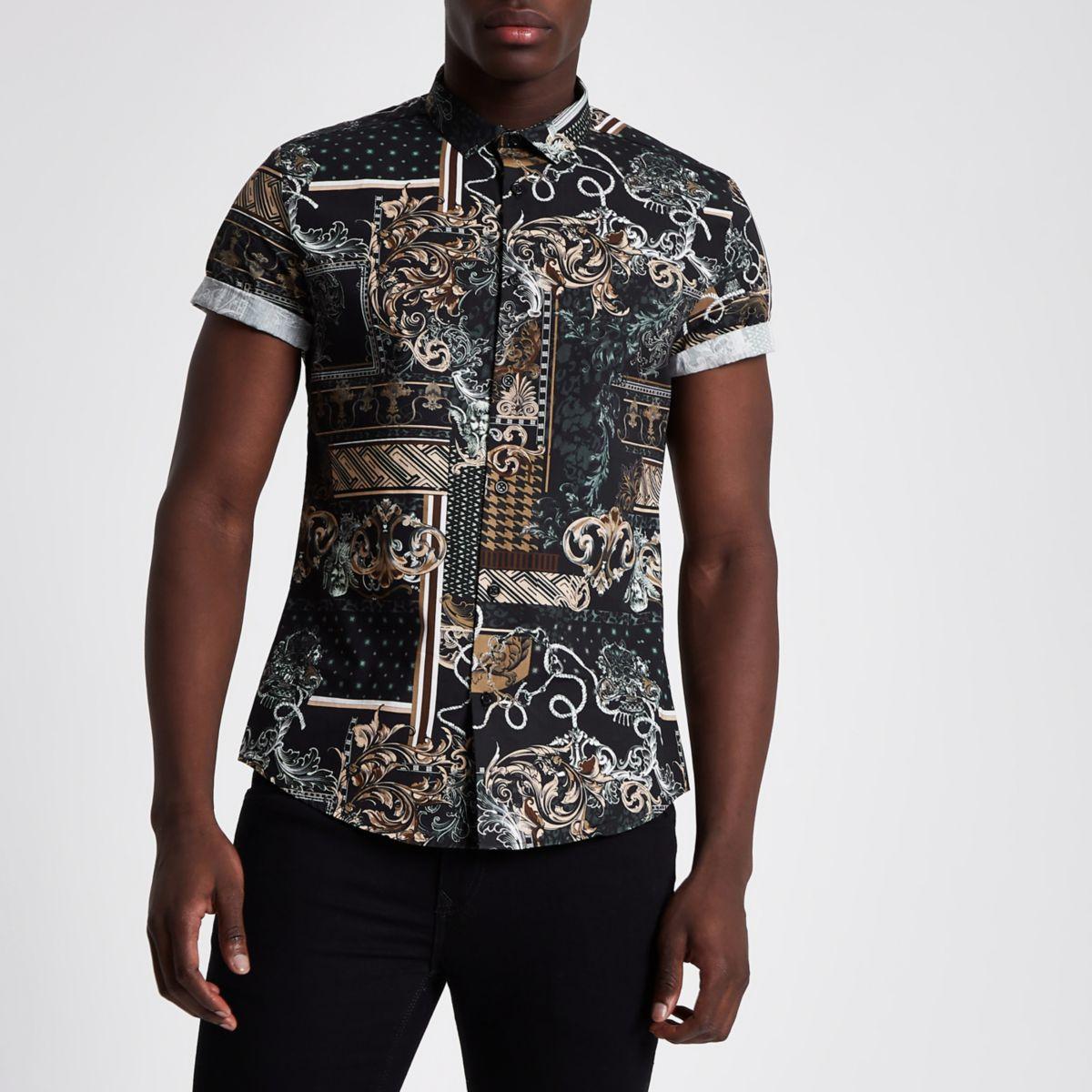 Zwart slim-fit overhemd met barokprint en korte mouwen