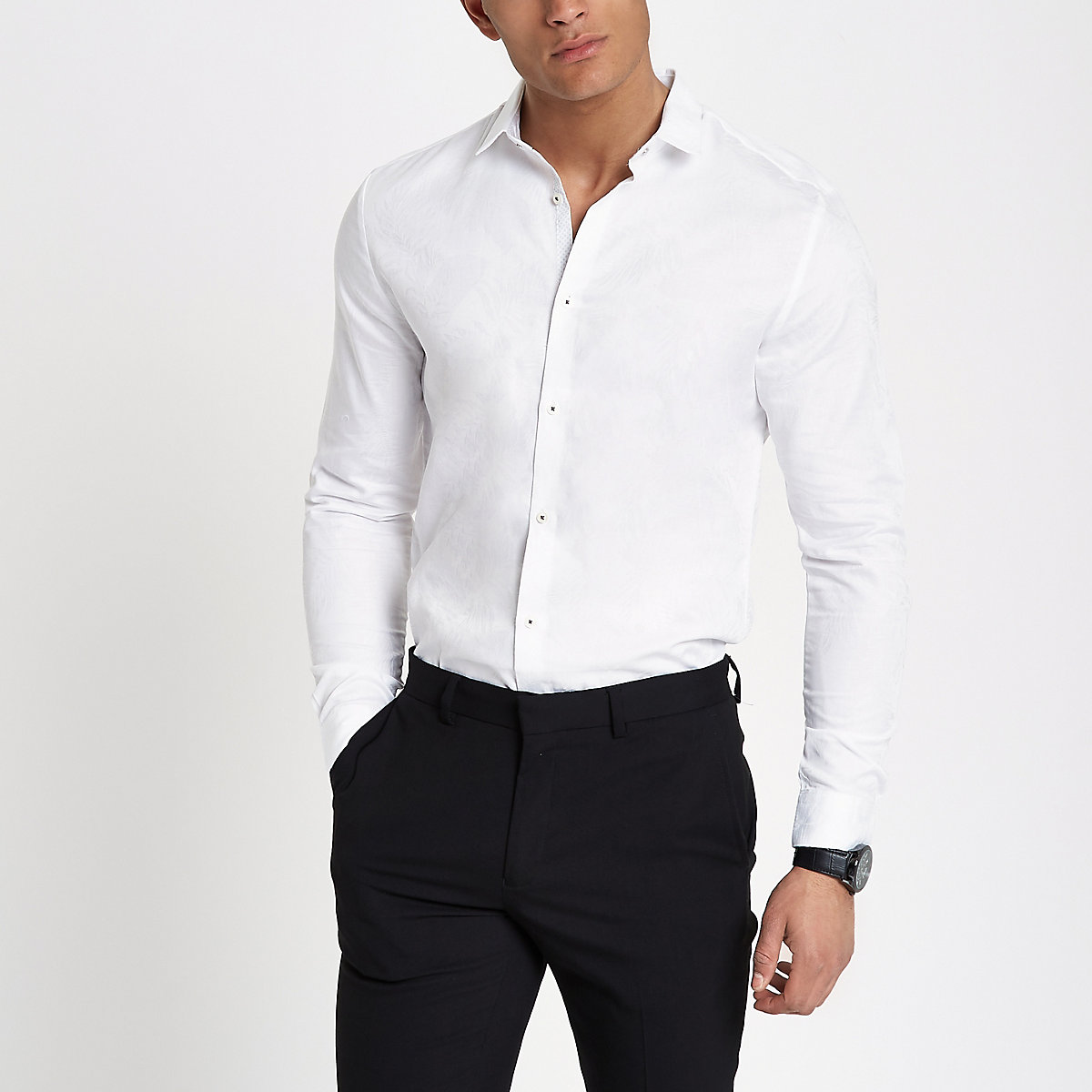 White feather print slim fit shirt