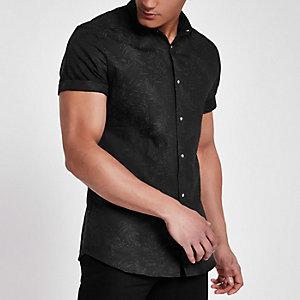 Zwart slim-fit overhemd met verenprint