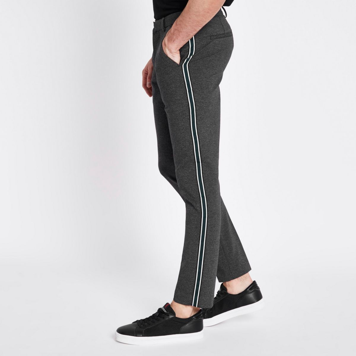 Dark grey skinny fit smart tape pants