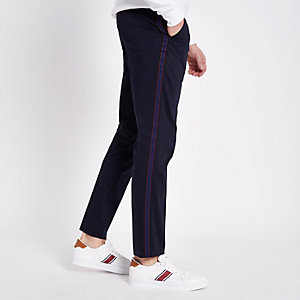 Navy tape skinny smart pants