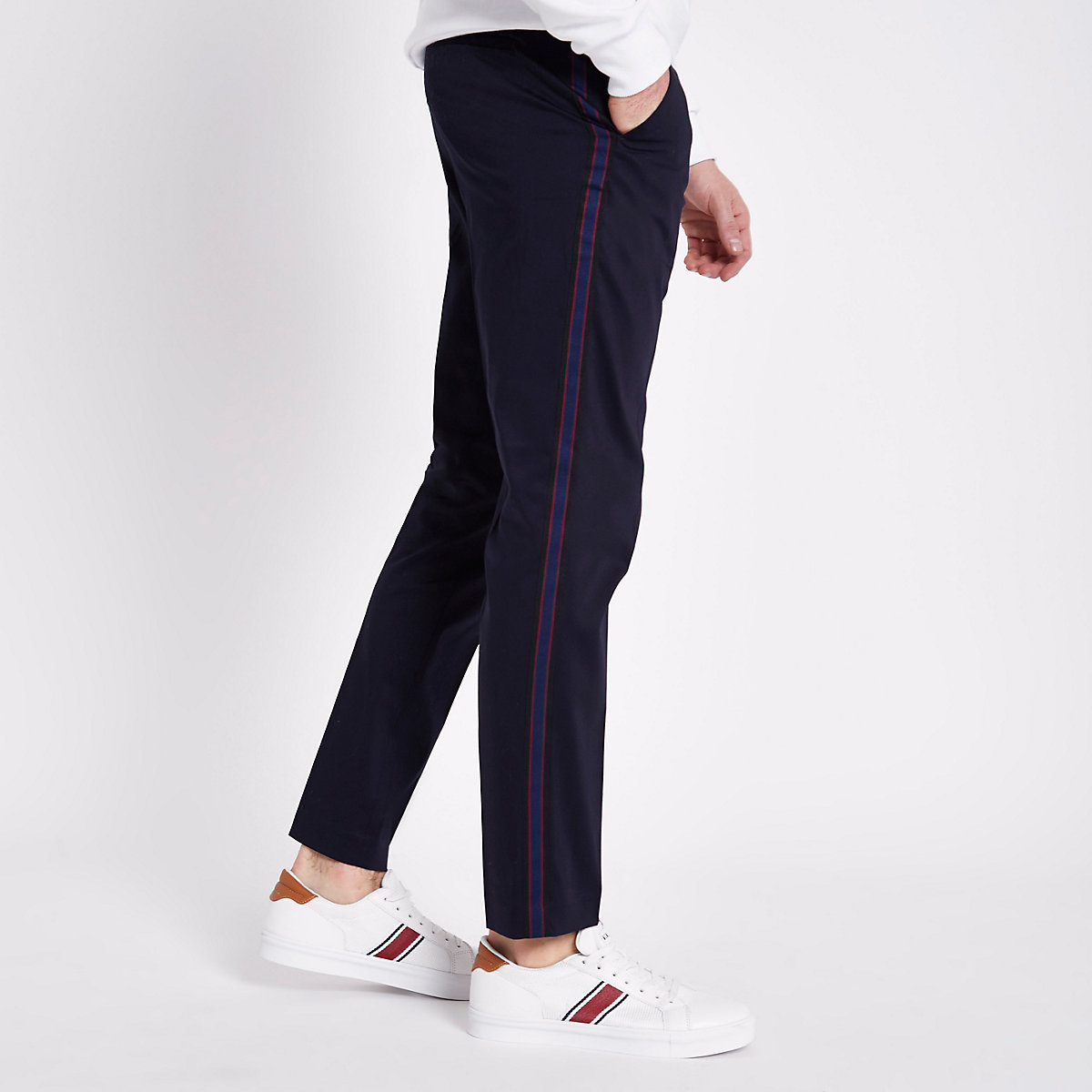 Navy tape skinny smart trousers