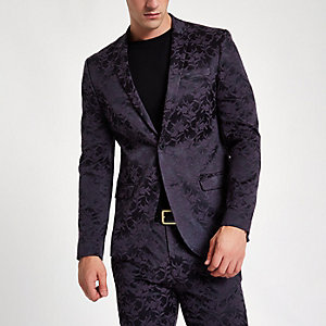 Purple floral skinny fit suit jacket