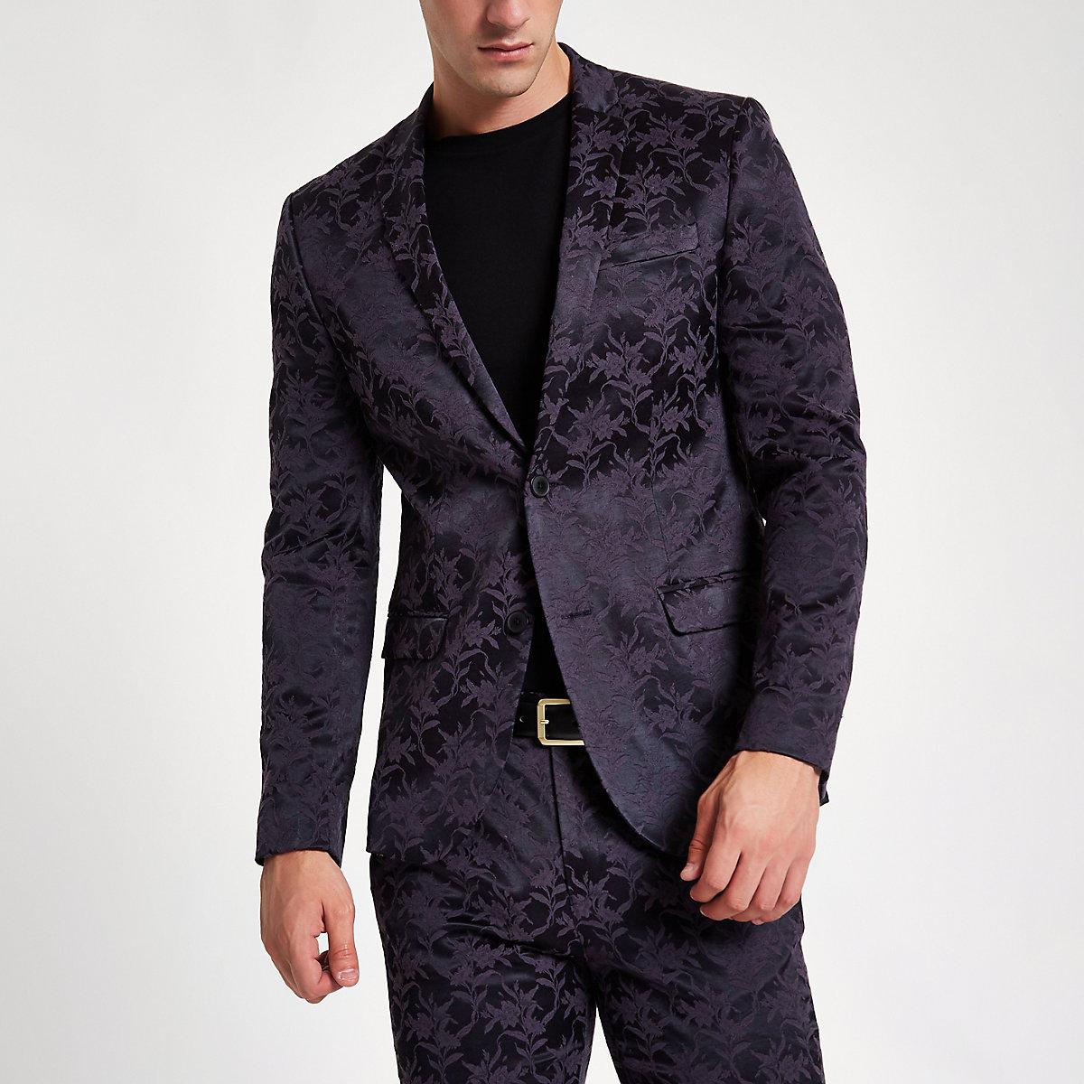 Purple floral skinny fit suit jacket