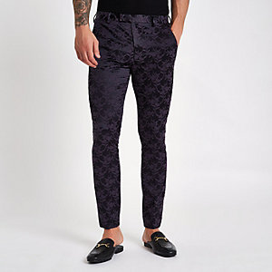 Pantalon de costume skinny à fleurs violet