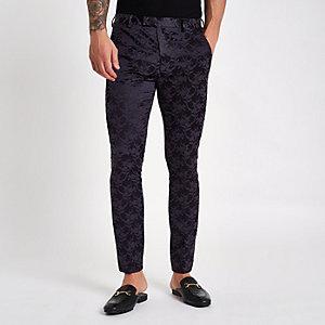 Paars gebloemde skinny-fit pantalon