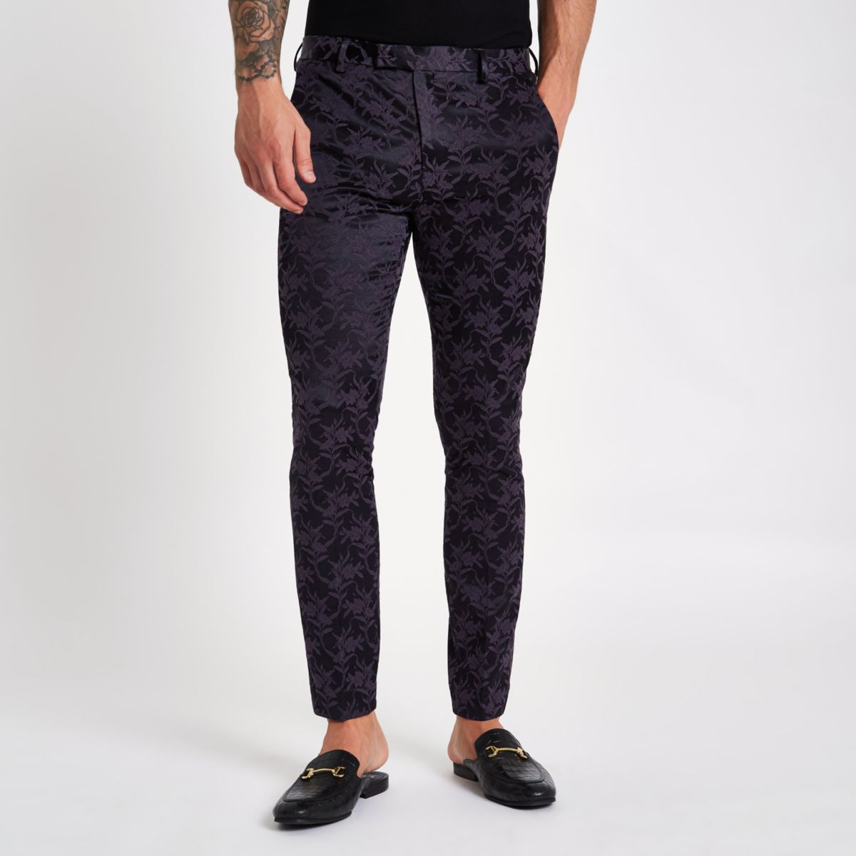 Purple floral skinny fit suit trousers