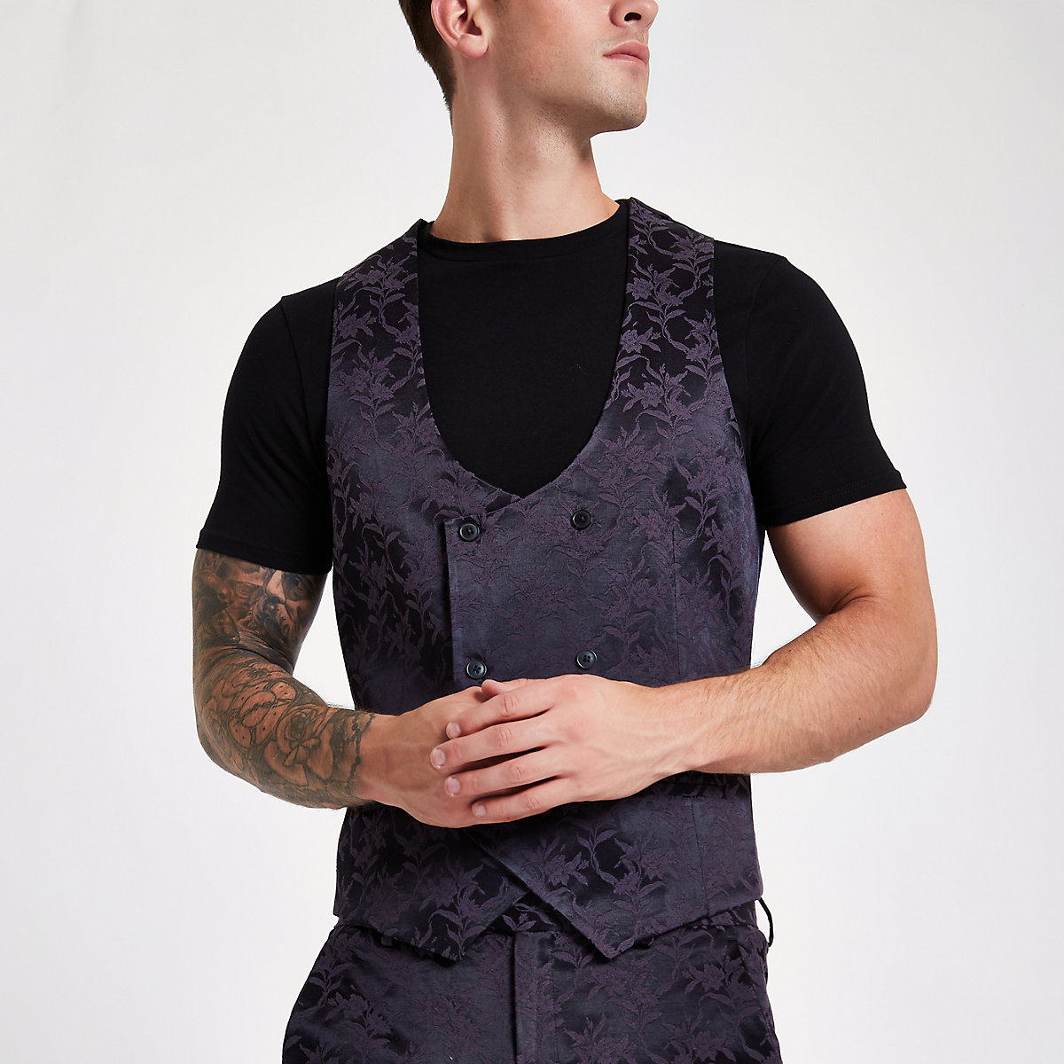 Purple floral double-breasted waistcoat