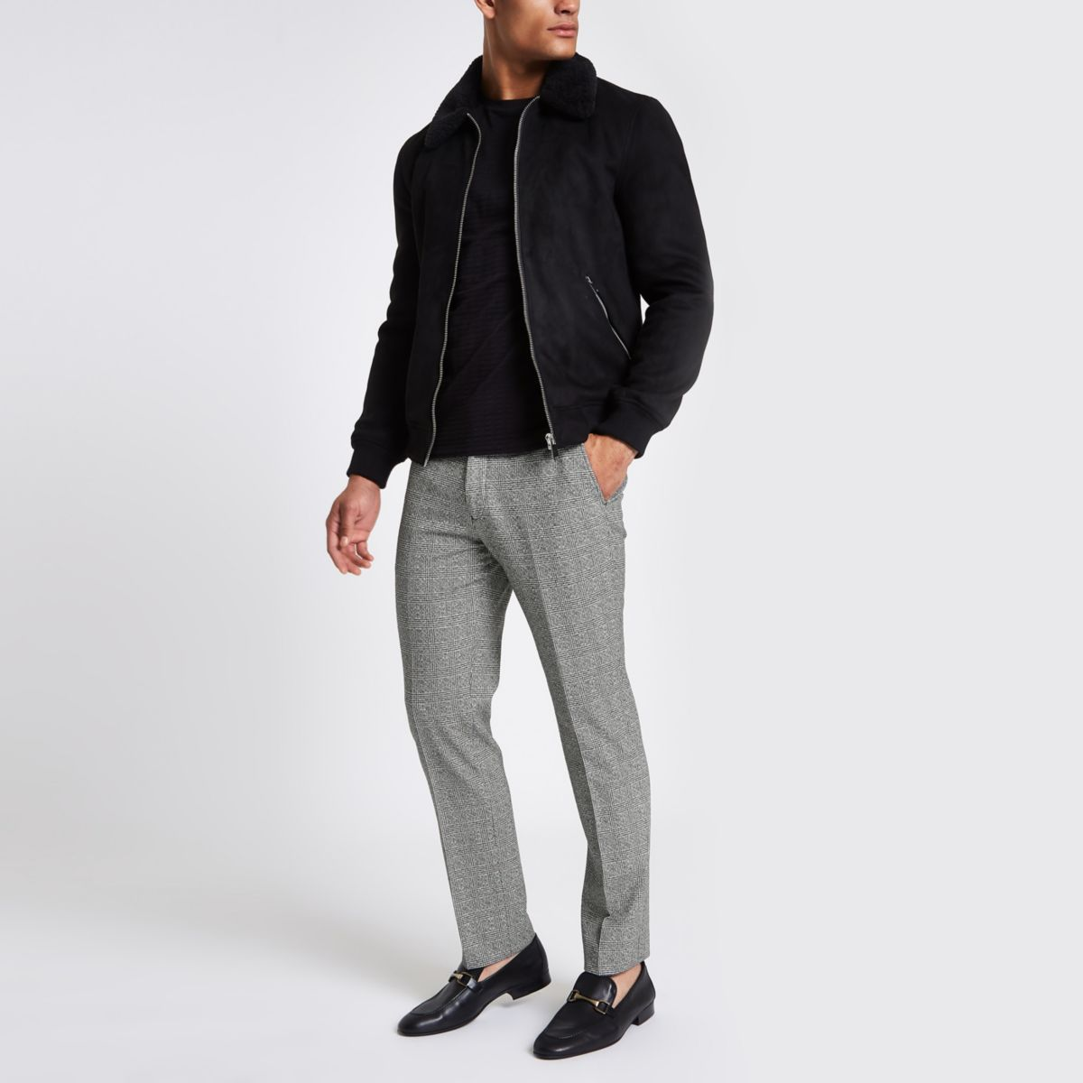 Grey check Prince of Wales slim fit pants