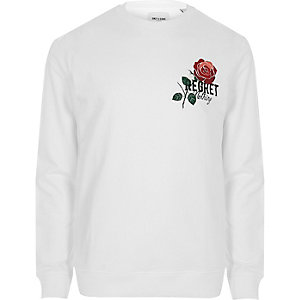 Only & Sons white rose print sweatshirt