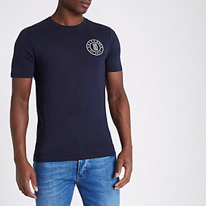 Only & Sons – Blaues Slim Fit T-Shirt mit Logo